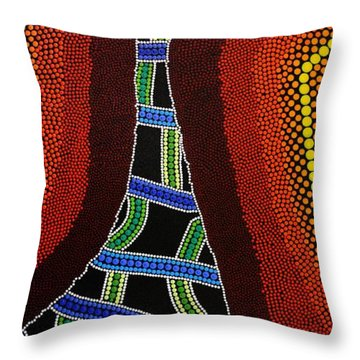 Throw Pillow featuring the painting Aboriginal Inspirations 19 by Mariusz Czajkowski