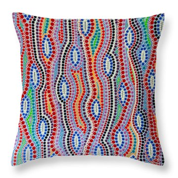 Throw Pillow featuring the painting Aboriginal Inspirations 2 by Mariusz Czajkowski