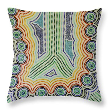 Throw Pillow featuring the painting Aboriginal Inspirations 20 by Mariusz Czajkowski