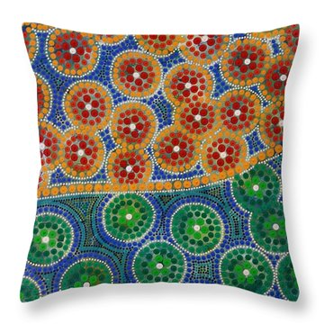 Throw Pillow featuring the painting Aboryginal Inspirations 3 by Mariusz Czajkowski