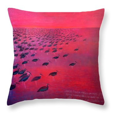About 250 White Shouldered Ibis Oil On Canvas Throw Pillow