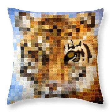 About 400 Sumatran Tigers Acrylic On Paper Throw Pillow