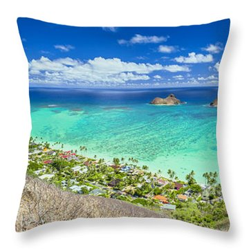 Throw Pillow featuring the photograph Above Lanikai Beach by Aloha Art