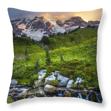 Above Myrtle Falls 3 Throw Pillow by Sonya Lang