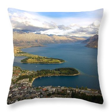 Above Queenstown Throw Pillow by Stuart Litoff