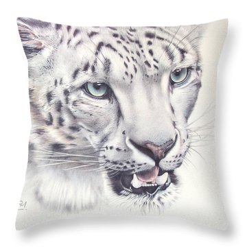 Above The Clouds - Snow Leopard Throw Pillow