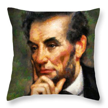 Abraham Lincoln - Abstract Realism Throw Pillow