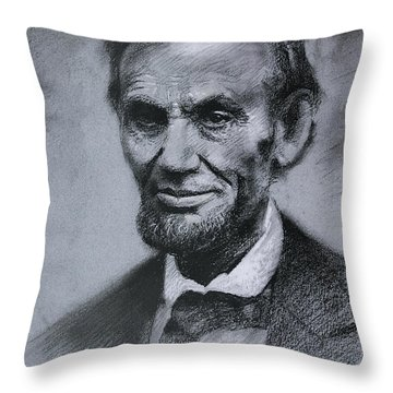 Throw Pillow featuring the drawing Abraham Lincoln by Viola El
