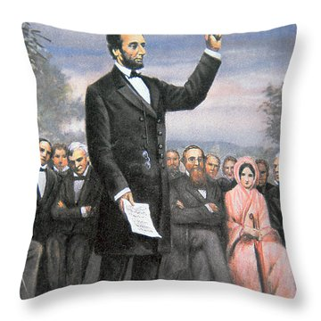 Abraham Lincoln Delivering The Gettysburg Address Throw Pillow by American School