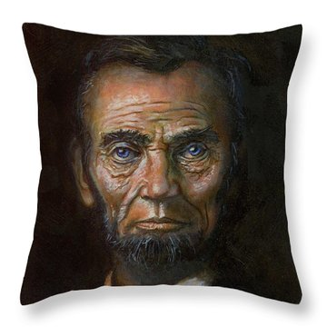 Abraham Lincoln Throw Pillow by Jeff Brimley