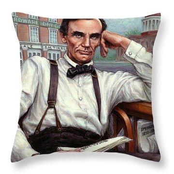 Abraham Lincoln Of Springfield Bicentennial Portrait Throw Pillow