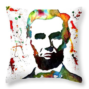 Throw Pillow featuring the painting Abraham Lincoln Original Watercolor Painting by Georgeta Blanaru