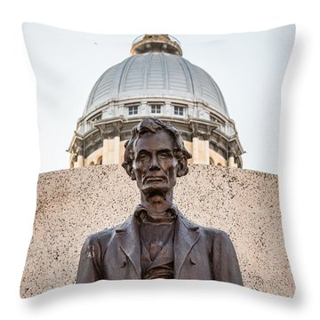 Abraham Lincoln Statue At Illinois State Capitol Throw Pillow by Paul Velgos