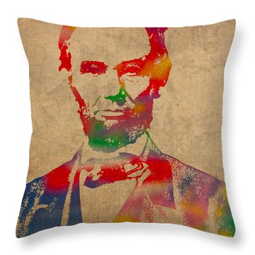 Abraham Lincoln Watercolor Portrait On Worn Distressed Canvas Throw Pillow by Design Turnpike