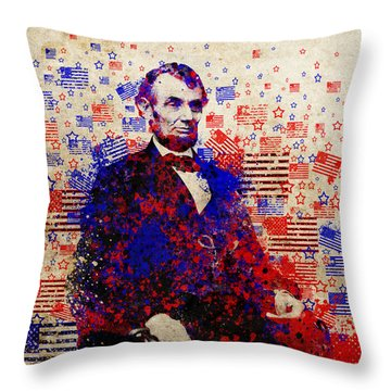 Abraham Lincoln With Flags Throw Pillow by Bekim Art
