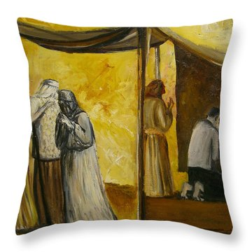 Abraham Praying Throw Pillow by Richard Mcbee