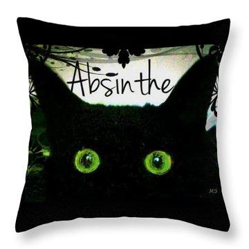 Throw Pillow featuring the digital art Absinthe Black Cat by Absinthe Art By Michelle LeAnn Scott