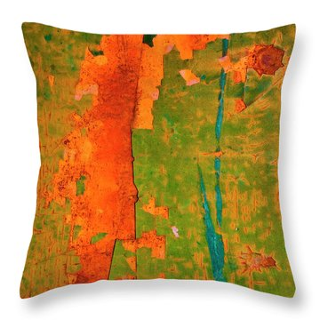 Absrtract - Rust And Metal Series Throw Pillow by Mark Weaver