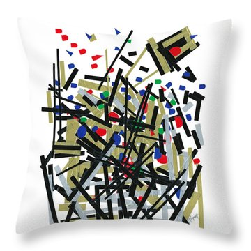 Abstact In Tape And Letterforms One Throw Pillow by Agustin Goba