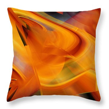 Throw Pillow featuring the digital art Abstract - That Golden Flow by rd Erickson
