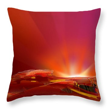 Throw Pillow featuring the digital art Abstract - Alien Sunrise by rd Erickson