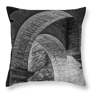 Abstract Arches Colosseum Mono Throw Pillow