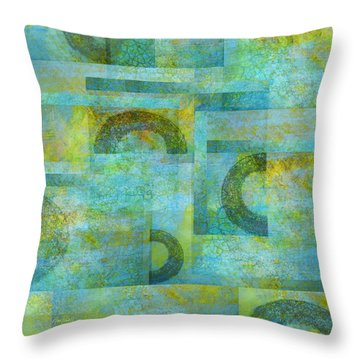 Abstract Art Blue Collage Throw Pillow by Ann Powell
