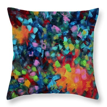 Abstract Art Bold Colorful Modern Art Original Painting Color Blast By Madart Throw Pillow by Megan Duncanson