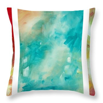 Abstract Art Colorful Bright Pastels Original Painting Spring Is Here By Madart Throw Pillow by Megan Duncanson