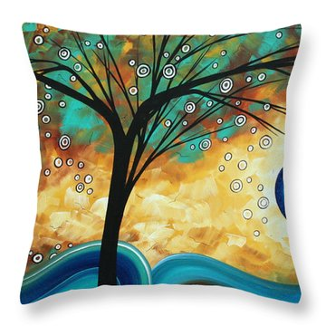Abstract Art Contemporary Painting Summer Blooms By Madart Throw Pillow by Megan Duncanson