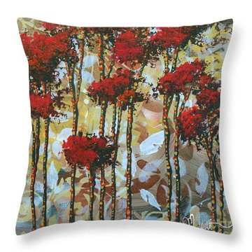 Abstract Art Decorative Landscape Original Painting Whispering Trees I By Madart Studios Throw Pillow by Megan Duncanson