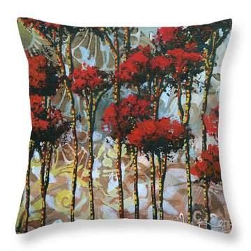 Abstract Art Decorative Landscape Original Painting Whispering Trees II By Madart Studios Throw Pillow by Megan Duncanson