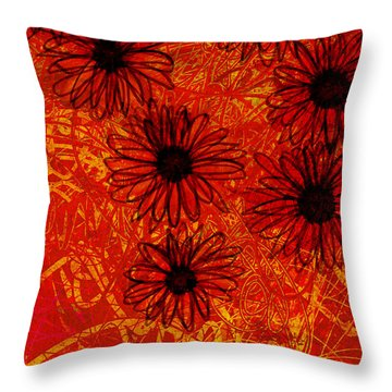 abstract - art- flowers - Daisies  Throw Pillow by Ann Powell