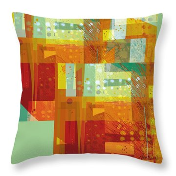 abstract - art- Intersect Orange   Throw Pillow by Ann Powell