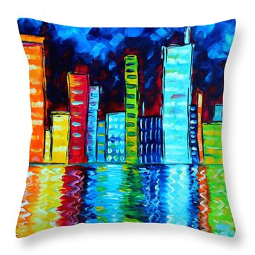 Abstract Art Landscape City Cityscape Textured Painting City Nights II By Madart Throw Pillow