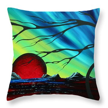 Abstract Art Landscape Seascape Bold Colorful Artwork Serenity By Madart Throw Pillow by Megan Duncanson