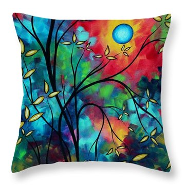 Abstract Art Landscape Tree Blossoms Sea Painting Under The Light Of The Moon II By Madart Throw Pillow by Megan Duncanson