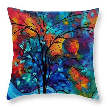 Abstract Art Landscape Tree Bold Colorful Painting A Secret Place By Madart Throw Pillow by Megan Duncanson