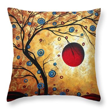 Abstract Art Landscape Tree Metallic Gold Texture Painting Free As The Wind By Madart Throw Pillow by Megan Duncanson
