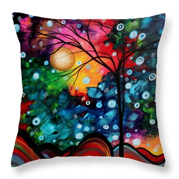 Abstract Art Landscape Tree Painting Brilliance In The Sky Madart Throw Pillow by Megan Duncanson