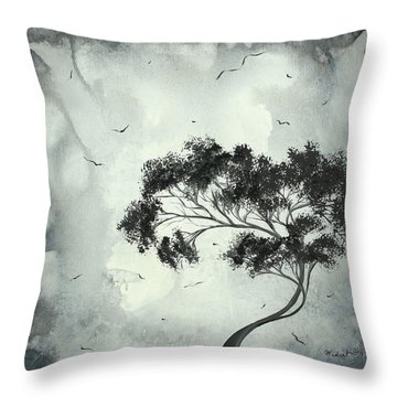Abstract Art Original Black And White Surreal Landscape Painting Lost Moon By Madart Throw Pillow by Megan Duncanson