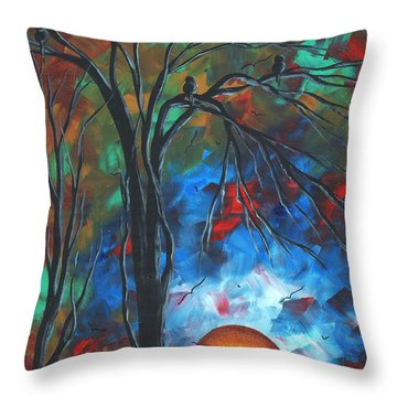 Abstract Art Original Colorful Bird Painting Spring Blossoms By Madart Throw Pillow by Megan Duncanson