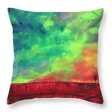 Abstract Art Original Colorful Landscape Painting Burning Skies By Madart  Throw Pillow by Megan Duncanson
