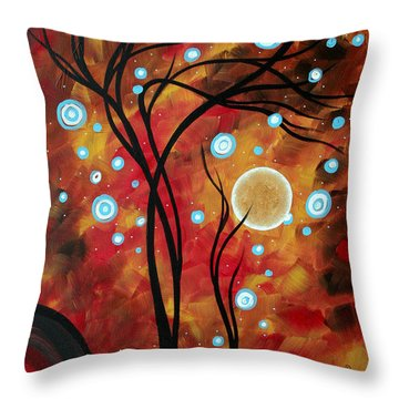 Abstract Art Original Landscape Circle Painting Fairy Dust By Madart Throw Pillow by Megan Duncanson