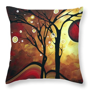 Abstract Art Original Landscape Painting Catch The Rising Sun By Madart Throw Pillow by Megan Duncanson