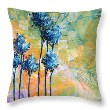 Abstract Art Original Landscape Painting Contemporary Design Blue Trees I By Madart Throw Pillow by Megan Duncanson