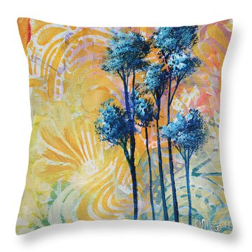 Abstract Art Original Landscape Painting Contemporary Design Blue Trees II By Madart Throw Pillow by Megan Duncanson
