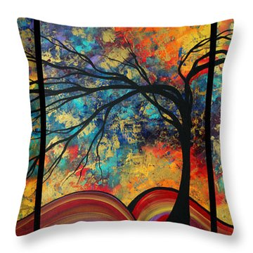 Abstract Art Original Landscape Painting Go Forth By Madart Throw Pillow by Megan Duncanson