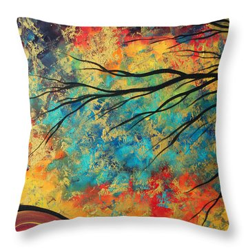 Abstract Art Original Landscape Painting Go Forth I By Madart Studios Throw Pillow by Megan Duncanson