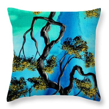 Abstract Art Original Landscape Painting Life Is A Maze By Madart Throw Pillow by Megan Duncanson